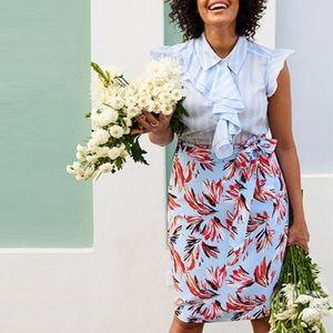 Lane Bryant modernist abstract tie skirt